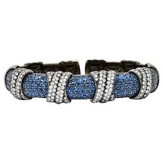 Sabbadini 12.05 CTW Diamond Sapphire 18 Karat Black Gold Italian Cuff Bracelet
