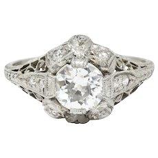 Belle Epoque 1.14 CTW Diamond Platinum Bow Engagement Ring GIA