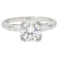 Mid-Century 1.40 CTW Diamond Platinum Engagement Ring GIA Circa 1950