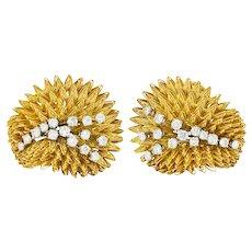 Tiffany & Co. 1.18 CTW Diamond 18 Karat Gold Vintage Radial Burst Earrings Circa 1970