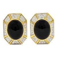 Vintage Onyx Diamond 18 Karat Two-Tone Gold Ear-Clip Earrings