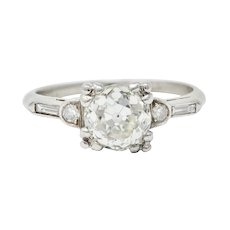 Art Deco 1.43 CTW Old European Diamond Platinum Engagement Ring GIA