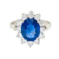 Regal 4.55 CTW Sapphire Diamond 14 Karat White Gold Cluster Ring