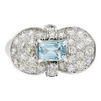 1960's Vintage 3.35 CTW Aquamarine Pave Diamond Platinum Band Ring