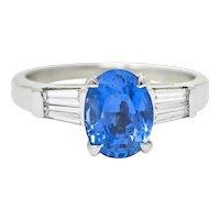 Mid-Century 3.34 CTW No Heat Ceylon Sapphire Diamond Platinum Ring GIA Circa 1950s