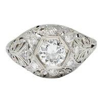Edwardian 0.90 CTW Diamond Platinum Foliate Bombe Band Ring