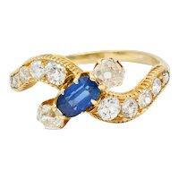 Schumann 1.45 CTW Sapphire Diamond 14 Karat Gold Bypass Ring