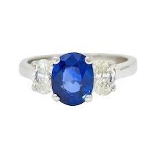 Vintage 2.86 CTW Sapphire Diamond Platinum Three Stone Ring GIA
