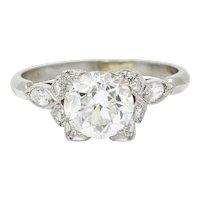 Art Deco 1.68 CTW Old European Diamond Platinum Engagement Ring GIA