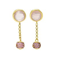 David Yurman Rose Quartz Pink Sapphire 18 Karat Gold Solari Pave Ball Drop Earrings