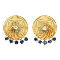 Cartier Retro Sapphire Diamond 14 Karat Gold Screwback Earrings