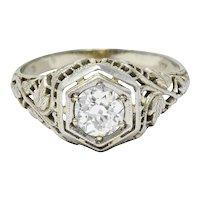 1920's Art Deco 0.62 CTW Diamond 18 Karat White Gold Hexagonal Engagement Ring