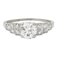 1920 Art Deco 1.25 CTW Diamond Platinum Stepped Engagement Ring GIA