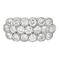 Edwardian 2.00 CTW Diamond Platinum-Topped 14 Karat Gold Cluster Band Ring