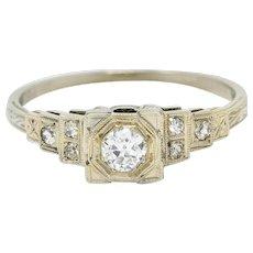 Art Deco 0.27 CTW Diamond 18 Karat White Gold Octagonal Step Engagement Ring