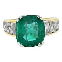 Vintage JB Star 8.85 CTW Emerald Diamond 18 Karat Two-Tone Gold Statement Ring GIA
