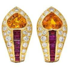 French 4.75 CTW Orange Sapphire Ruby Diamond 18 Karat Gold Heart Ear-Clip Earrings