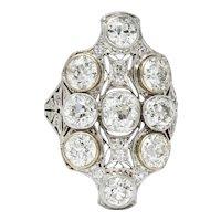 Edwardian 5.60 CTW Diamond 18 Karat White Gold & Platinum Dinner Ring