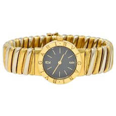 Bulgari Italian 18 Karat Two-Tone Gold Cuff Watch Bracelet