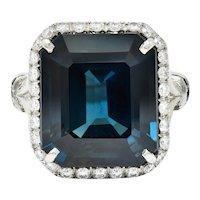 Substantial  20.95 CTW Sapphire Diamond Platinum Statement Ring AGL