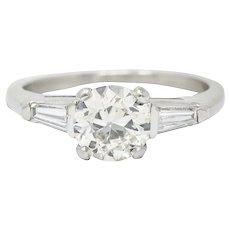 1950's Mid-Century 1.59 CTW Diamond Platinum Engagement Ring GIA