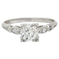 Art Deco 0.92 CTW Diamond Platinum Navette Engagement Ring GIA Circa 1930