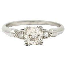 1940's Retro 1.10 CTW Diamond Palladium Engagement Ring