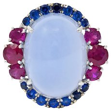Vintage Blue Chalcedony 2.55 CTW Ruby Sapphire 18 Karat White Gold Cocktail Ring