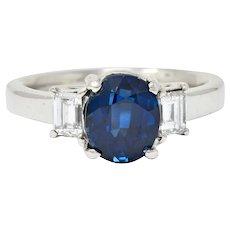 Modern 3.36 CTW Sapphire Diamond Platinum Three Stone Ring