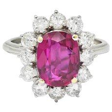 Vintage 5.02 CTW No Heat Ruby Diamond Platinum Cluster Ring GIA