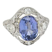 Edwardian 4.97 CTW No Heat Color-Changing Spinel Diamond Platinum Dinner Ring GIA