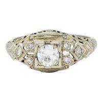 Art Deco 0.55 CTW Diamond 18 Karat White Gold Geometric Engagement Ring