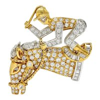 Unigem Vintage 1.61 Carats Diamond 18 Karat Two-Tone Gold Horse & Jockey Pendant