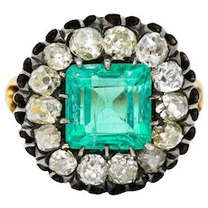 Victorian 5.25 CTW Emerald Diamond Silver-Topped 18 Karat Gold Cluster Ring GIA