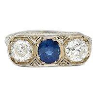 Edwardian 2.30 CTW No Heat Sapphire Diamond Platinum Heart Band Ring GIA