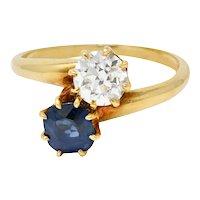 Victorian 1.75 CTW Diamond No Heat Sapphire 18 Karat Gold Bypass Ring GIA