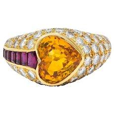 French 5.25 CTW Orange Sapphire Ruby Diamond 18 Karat Gold Heart Band Ring