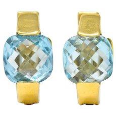 Italian Checkerboard Cut Blue Topaz 18 Karat Gold Huggie Earrings