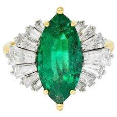 McTeigue 4.85 CTW Emerald Diamond 18 Karat Gold Platinum Ring GIA