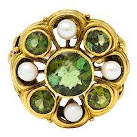 Arts & Crafts Tourmaline Pearl 18 Karat Gold Foliate Cluster Ring