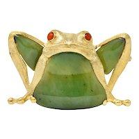 Large 1960's Vintage Jade Carnelian 14 Karat Gold Frog Brooch