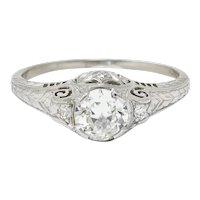 Art Deco 0.83 CTW Diamond Platinum Scrolled Engagement Ring GIA