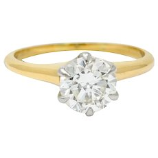 J.E. Caldwell 1.19 CTW Diamond 14 Karat Two-Tone Solitaire Engagement Ring GIA