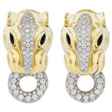 David Webb Enamel 4.90 CTW Diamond 18 Karat Two-Tone Gold Doorknocker Lion Earrings