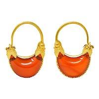 Antique Tiffany & Co. Etruscan Revival Carnelian 22 Karat Gold Hoop Earrings