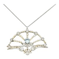 1910 Frank Walter Lawrence Pearl Diamond Platinum Fanned Pendant Brooch Necklace