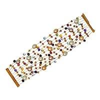Marco Bicego Italian Multi-Gem Peridot Pearl 18 Karat Gold Paradise Strand Bracelet