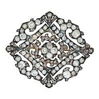 Russian 9.30 CTW Diamond Silver-Topped 14 Karat Gold Statement Brooch
