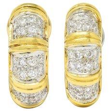 Vintage 2.50 CTW Pave Diamond 18 Karat Two-Tone Gold Half Hoop Earrings