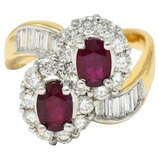 Vintage 3.25 CTW Ruby Diamond 18 Karat Two-Tone Gold Bypass Cluster Ring